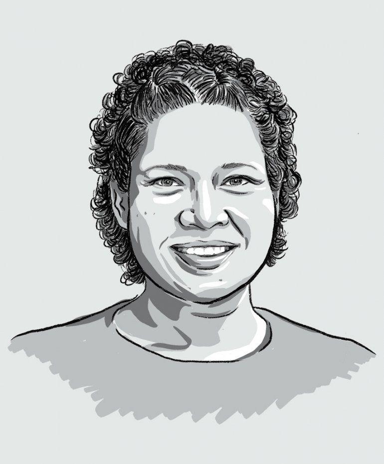 Illustrated portrait of Jennifer James.