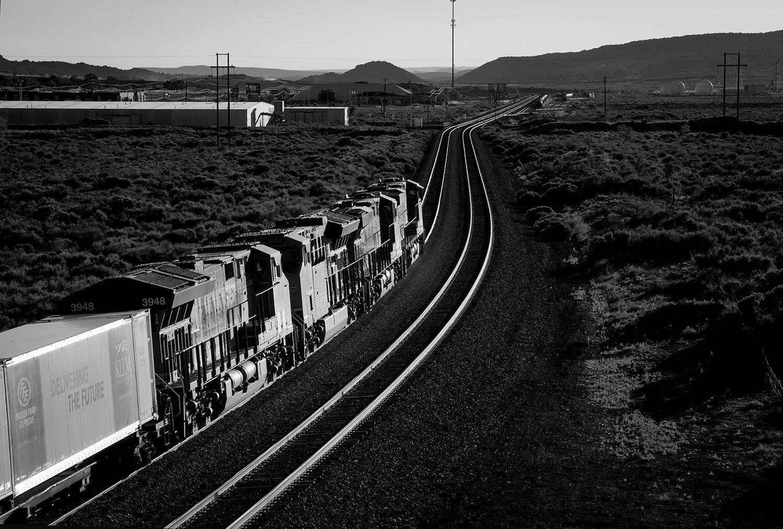 a train goes down the tracks